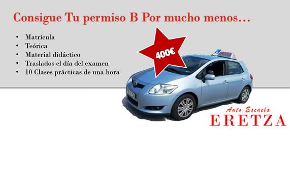 Oferta Permiso B ( carnet de coche barato en vizcaya )